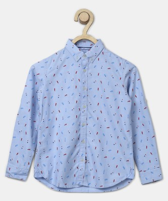 US Polo Kids Boys Printed Casual Light Blue Shirt at flipkart