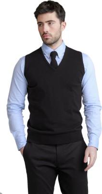 BASE 41 Solid V-neck Casual Men's Reversible Black Sweater