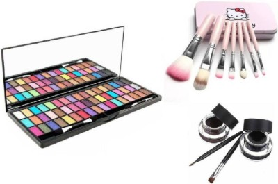 Hello Kitty Ladymode 51 Color Eye Shadow & HelloKitty Brush Set & Music Flower Eye Liner Black Brown (Set of 3)(Set of 2)