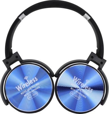 GLOSS Wireless Bluetooth AZ-009 On-Ear Extra Bass Headphones (Blue) Bluetooth Headset with Mic(Blue, Over the Ear)