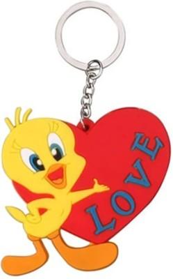 GCT Single Sided Looney Tunes Tweety Pie Bird Love Heart Cartoon (Design-3) Rubber Keychain for Car Bike Men Women Keyring Key Chain
