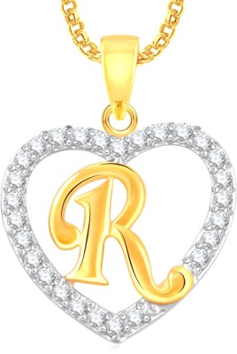"Divastri \"" D \"" Letter Alphabet Necklace Pendants Chain Heart Pendant for Girls Boys Women Mens Valentine Gift Silver, Gold-plated Cubic Zirconia, Diamond Alloy, Stone Pendant"