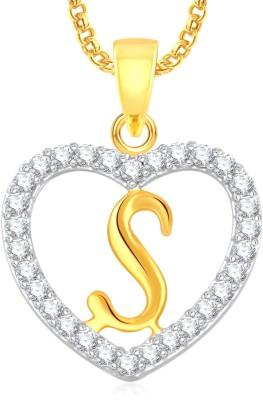 "Divastri \"" S \"" Letter Alphabet Necklace Pendants Silver, Gold-plated Cubic Zirconia, Diamond Alloy, Stone Pendant"