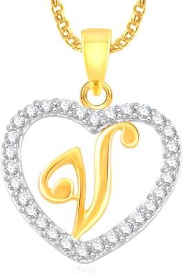 "Divastri \"" V \"" Letter Alphabet Necklace Pendants Chain Heart Pendant for Girls Boys Women Mens Valentine Gift Silver, Gold-plated Cubic Zirconia, Diamond Alloy, Stone Pendant"