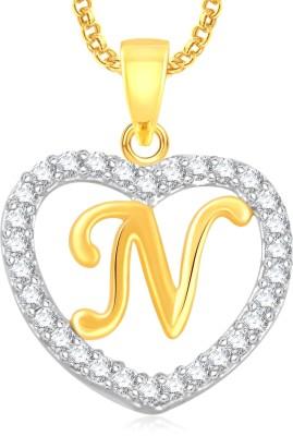 "Divastri \"" N \"" Letter Alphabet Necklace Pendants Chain Heart Pendant for Girls Boys Women Mens Valentine Gift Silver, Gold-plated Cubic Zirconia, Diamond Alloy, Stone Pendant"