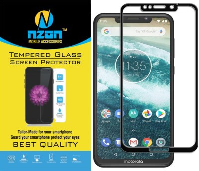 nzon Edge To Edge Tempered Glass for Moto One Power 10D Original Full Coverage Curved Scratch Proof Bubble Free 0.3mm Tempered Glass for Moto One Power Screen Protectors - Black(Pack of 1)