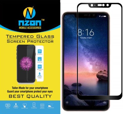 nzon Edge To Edge Tempered Glass for Xiaomi Redmi Note 6 Pro 6D Original Full Coverage Curved Scratch Proof Bubble Free 0.3mm Tempered Glass for Redmi Note 6 Pro Screen Protectors - Black(Pack of 1)