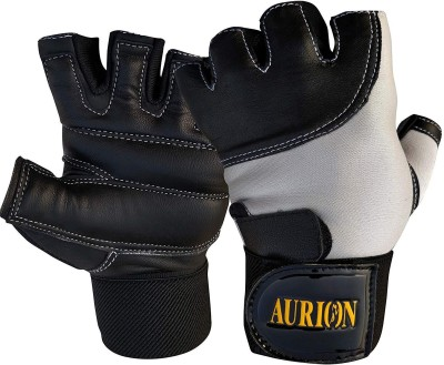 MK Gloves With Strong Wrist Support Strap – Padded Black Leather Gym Gloves - Enhanced Grip - For Men & Women Who Want to Achieve More in the Gym Gym & Fitness Gloves (Free Size, Black)