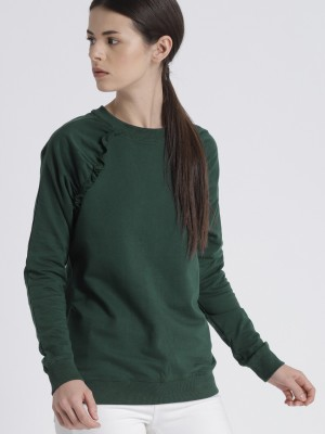Chemistry Full Sleeve Solid Women Sweatshirt at flipkart