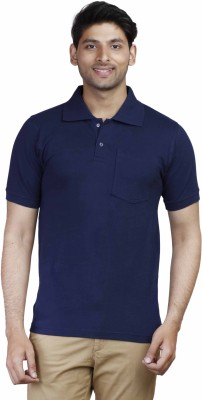 Fleximaa Solid Men Polo Neck Dark Blue T-Shirt