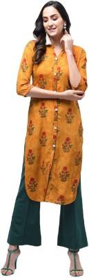 Shopping Queen Casual Printed Women Kurti Yellow