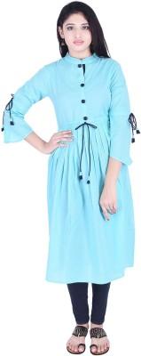 THE NK Store Women's Self Design, Solid Anarkali Kurta(Blue)