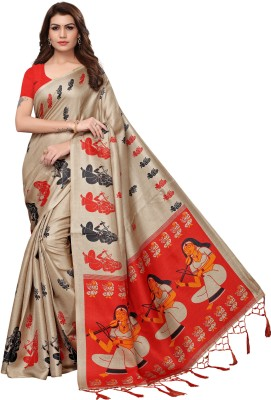 Yashika Digital Prints Mysore Art Silk, Khadi, Poly Art Silk, Poly Silk, Polyester, Printed Silk, Tissue Silk Saree(Beige)