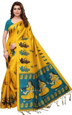 Yashika Digital Prints Mysore Art Silk, Khadi, Poly Art Silk, Poly Silk, Polyester, Printed Silk, Tissue Silk Saree(Yellow)