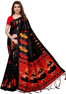 Yashika Digital Prints Mysore Art Silk, Khadi, Poly Art Silk, Poly Silk, Polyester, Printed Silk, Tissue Silk Saree(Black)