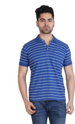 Particle Striped Men Polo Neck Blue T-Shirt