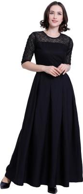 Khodal Fashion Women A-line Black Dress