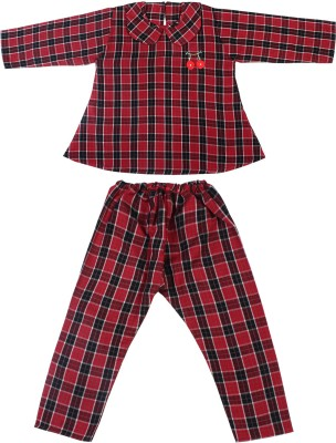 Superminis Kids Nightwear Girls Checkered Cotton Blend(Red Pack of 1)