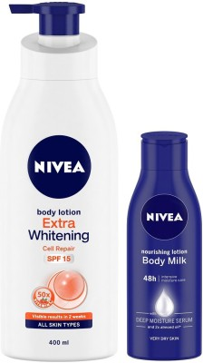 NIVEA Extra Whitening Cell Repair and Body Milk Nourishing Lotion(520 ml)