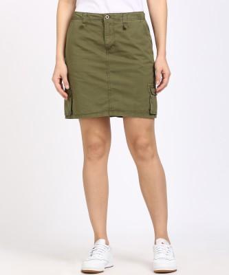 Cherokee Solid Women's Regular Green Skirt