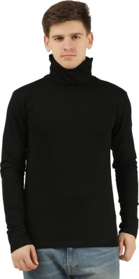 Tees Park Solid Men Turtle Neck Black T-Shirt