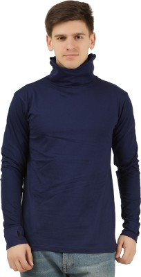 Tees Park Solid Men Turtle Neck Dark Blue T-Shirt
