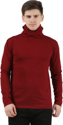 Tees Park Solid Men Turtle Neck Maroon T-Shirt