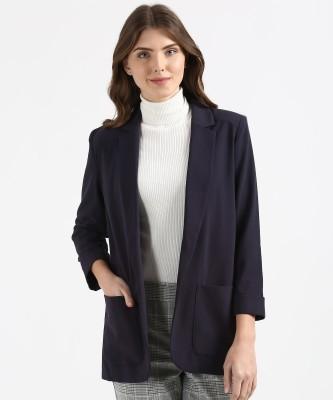 Marks & Spencer Solid Single Breasted Casual Women Blazer(Blue) at flipkart