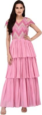 JG FORCEMAN Women Gathered Pink Dress