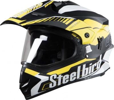 Steelbird SB-42 Airborne Mat Black With Yellow +P-Cap Motorbike Helmet(MAT BLACK, Yellow)