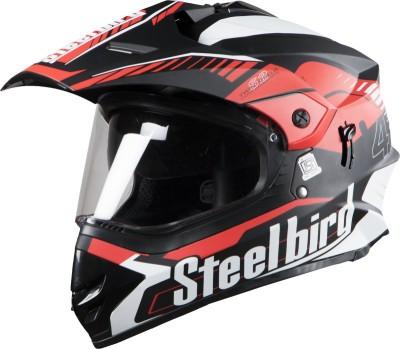Steelbird SB-42 Airborne Mat Black With Red +P-Cap Motorbike Helmet(Red, MAT BLACK)