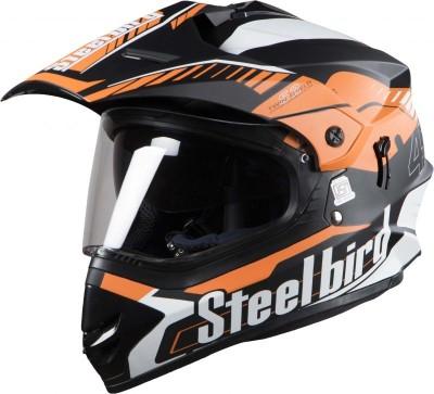 Steelbird SB-42 Airborne Mat Black With Orange+P-Cap Motorbike Helmet(MAT BLACK, Orange)