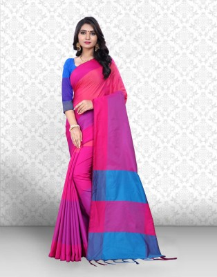 Ishin Printed Bollywood Poly Silk Saree(Pack of 2, Pink, Beige)