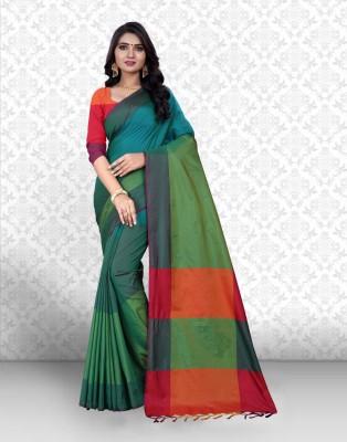 Divastri Striped Banarasi Silk Saree(Green)