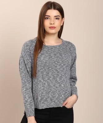 U.S. Polo Assn Self Design Round Neck Casual Women Grey Sweater