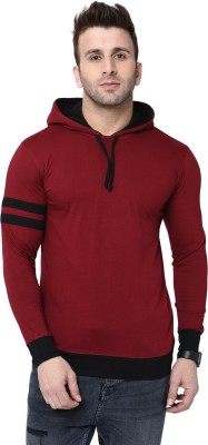 Bi Fashion Striped Men Round Neck Maroon, Black T-Shirt