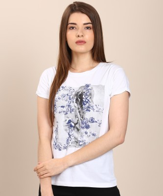 Pepe Jeans Printed Women Round Neck White T-Shirt