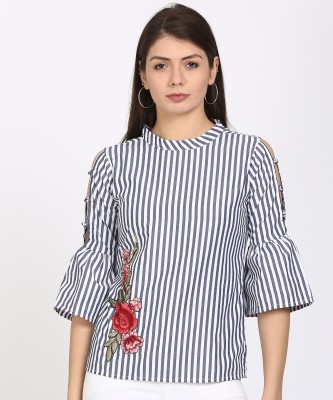 Style Quotient Casual Bell Sleeve Striped Women White, Blue Top