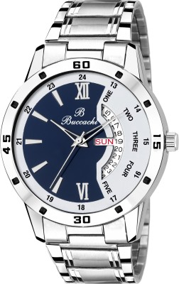 Buccachi B-GR5046-BWH-CH White & Blue Dial Day & Date Functioning Water Resistant Stainless Steel Bracelet Watch for Men/Boys Watch  - For Men