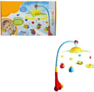 Miss & Chief Musical 360 Degrees Rotating Baby Rattles Star Projector Hanging Bell Crib Toy(Multicolor)
