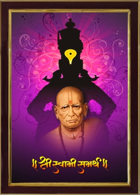 SAF Shri Swami Samarth Ji Sparkle Coated Digital Reprint 13.25 inch x 9.25 inch Painting