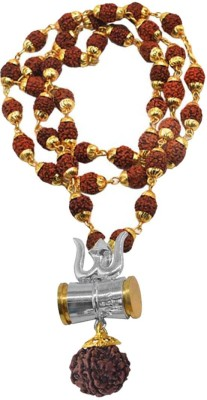 Rich & Famous Shiv Kavach Rudraksha Trishula Damru Locket Gold-plated Brass, Wood Pendant Set