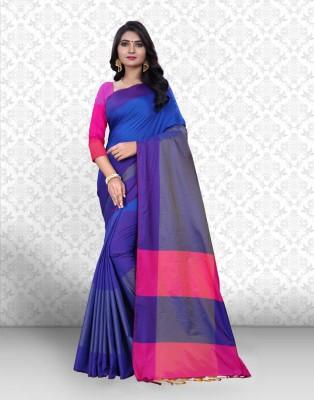 Divastri Color Block Handloom Poly Silk Saree(Dark Blue)