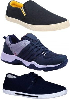 Chevit Combo Pack of 3 Casual Canvas Shoes For Men(Black, Navy)