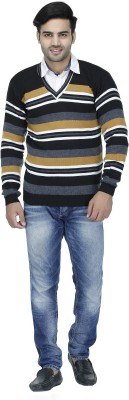 Christy World Striped V-neck V-neck Casual Men Beige Sweater at flipkart