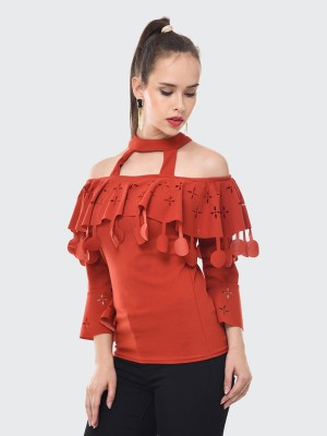 BuyNewTrend Casual 3/4 Sleeve Solid Women Red Top