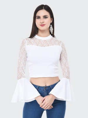 BuyNewTrend Casual Bell Sleeve Solid, Lace Women White Top BuyNewTrend Women's Tops