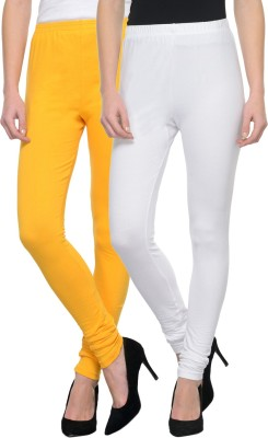 Dealbymn Churidar  Legging(White, Yellow, Solid)