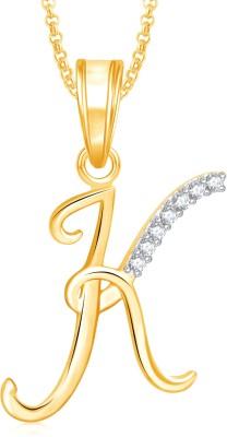 """Divastri \"""" P\"""" Letter Alphabet Chain Pendants Silver Cubic Zirconia, Diamond Alloy Pendant"""