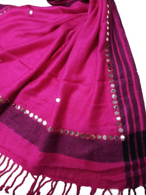 Aaanimation Cotton Viscose Blend Embroidered Women Shawl(Pink)